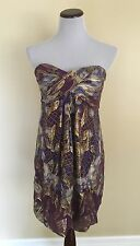 Nicole Miller Collection Purple and Gold Strapless Party Cocktail Dress Size 12
