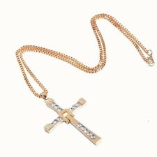 Men Gold Cross Rhinestone Chain The Fast and Furious Dominic Toretto's Necklace