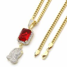 """Gold Plated Iced Out Red Stone CZ & Prayer Hands Pendant w/ 3mm 30"""" Cuban Chain"""