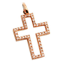 SMALL 14K ROSE GOLD NATURAL PAVE DIAMOND CROSS RELIGIOUS PENDANT CHARM NECKLACE