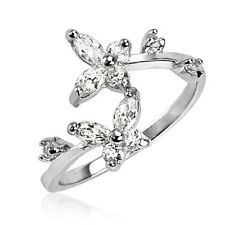 .925 Sterling Silver CZ Butterfly Adjustable Toe Ring