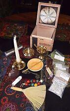 Altar Set Kit Wicca Wood Cigar Box BRASS Mortar Pestle Burner Resins Besom MORE
