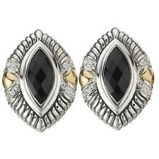 NEW 18k GOLD & PALLADIUM MARQUISE BLACK ONYX & WHITE SAPPHIRE OMEGA EARRINGS