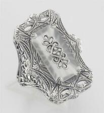 Antique Style Sunray Camphor Glass Filigree Diamond Ring Sterling Silver Size 8