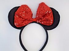 MINNIE MOUSE EARS Headband Black  - Red Sequin Bow Mickey
