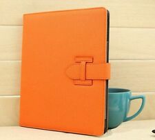 Luxury Deluxe Grid Leather Stand Smart Case Cover For iPad 2 3 4--Orange