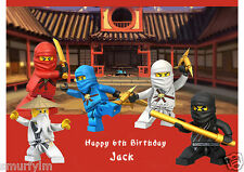 Ninjago CAKE TOPPER PERSONALISED ICING SUGAR FOR BIRTHDAY PARTY A4 img z2