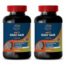 Gray Hair Solution Extra Strength for Men & Women Anti-Gray Formula (2 Bottles)