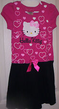 GIRL~HELLO KITTY~PINK COTTON KNIT SHORT SLEEV BODICE STRAIGHT DRESS/BLACK TRIM4T