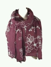 NEW Ladies Embroidered Floral Scarf Maxi Wrap Shawl Pashmina Soft Warm - Maroon