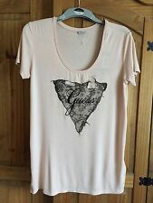 Womens designer Guess Peach T Shirt top size medium Brand New With Tags