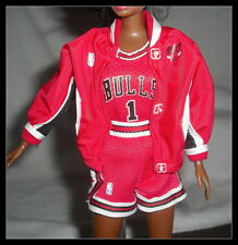 OUTFIT MATTEL BARBIE DOLL NBA CHICAGO BULLS JACKET SHORTS JERSEY FOR  DIORAMA