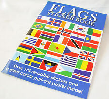 NEW FLAGS STICKER BOOK WITH WORLD MAP PULL OUT POSTER EDUCATIONAL & FUN AL