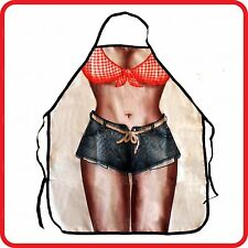 APRON-ATTITUDE FUNNY-SEXY COW GIRL LADY BIKINI+SHORTS-COOKING-COSTUME-PARTY-BBQ