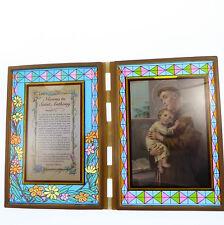 Vitrail double cadre avec Novena pour St. Anthony et image 18cm cadeau