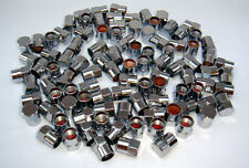 100 PCS. CHROME PLASTIC TIRE VALVE STEM HEX CAPS.