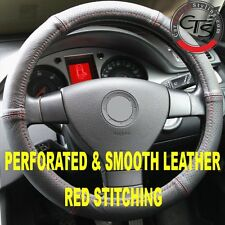 VW T5 VAN MULTIVAN STEERING WHEEL COVER PERFORATED SMOOTH LEATHER RED STITCH