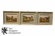 3 Signed Italian Oil Paintings Tuscany Country Cottages Architectural Landscape