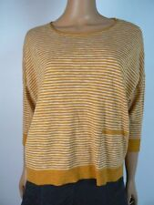 Eileen Fisher Ochre White Striped Ballet Neck Box Top Sweater S 4 6 NWT E372