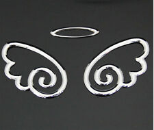 CAR SILVER ANGEL STICKERS (PAIR) 3D STICKER DECAL UNIVERSAL FIT (UK SELLER)