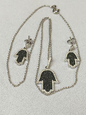 Sterling Silver Jewelry Set  Hamsa Necklace Pendant  Earrings Set, Micro Pave CZ