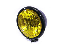 Yellow Glass BLACK Metal Vintage Retro Headlight for Harley Davidson Project