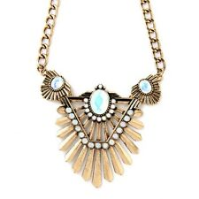 European Fashion Women's Bronze Hollow Out Leaves Statement Bib Necklace