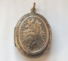 Antique Rose Gold Engraved Victorian Locket Pendant Circa 1890s