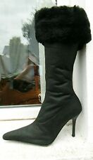 Schuh  genuine sheepskin calf length high heel black boots