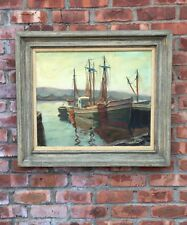 Gloucester Massachusetts Artist Maria Liszt Oil On Canvas Ships In Harbor Signed