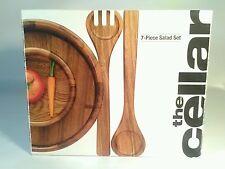 The Cellar 7 PIECE Wood Salad Bowl Server Set