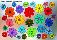 ~BEA'S FUNKY DAISIES STAINED GLASS EFFECT WINDOW CLING~
