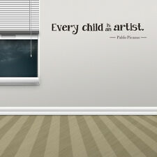 Every Child Is An Artist Wall Quote Decal Vinyl Sticker Children Baby Room Decor