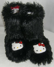 Hello Kitty Slipper Booties BLACK SHAG CHRISTMAS GIFT FREE SHIPPING SMALL 5-6
