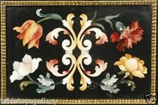 """25""""x50"""" Black Marble Dining Table Top Marquetry Inlay Hallway Decor H2018"""