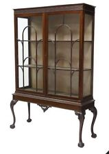 "Antique English Mahogany Chippendale Display China Cabinet H 72"" x W 50"" x D 18"""