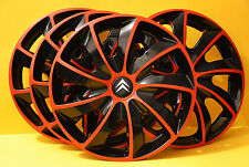 "16"" CITROEN C4,C5, etc..WHEEL TRIMS / COVERS ,HUB CAPS ,Quantity 4 ,red & black"