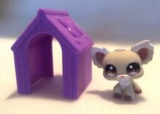 Littlest Pet Shop CREAM & TAN CHIHUAHUA DOG BROWN EYES #1199 w/ Dog House LPS