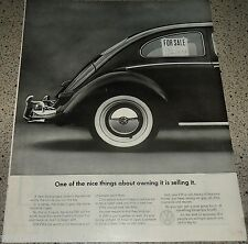 1961 VOLKSWAGEN VW Bug Beetle w/ For Sale Sign Classic Vintage Car AD