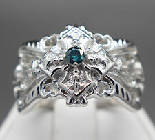 .15cts 3.25mm Flawless Natural Blue Diamond Filigree Ring  $660 Retail