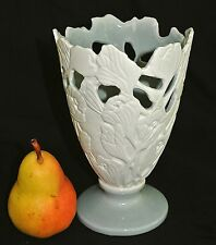 Signed White Bisque Floral Pottery Cut Out Vase/Celadon Glaze Base/Interior-8""