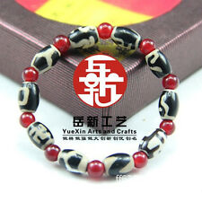 "Stretchy Tibetan 10 Barrel Agate dZi Beads Beaded Bracelet 6"" -Powerful Energy!"