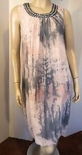 Horst BASLER COLLECTION Pink Gray Marbled Crinkle Chiffon Beaded Bubble Dress 6