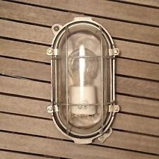 Vintage Industrial Metal Caged BULKHEAD BUNKER Light Oval Lamp Clear Glass Dome
