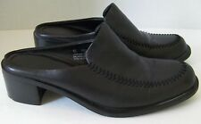 Parade Womens Size US 6.5 Medium Black Leather 2 Inch Block Heel Clog Slide