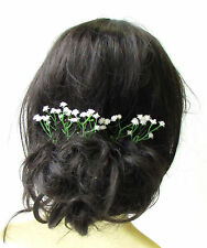 5 x White Gypsophila Baby's Breath Flower Hair Pins Bridal Clip Artificial 2157