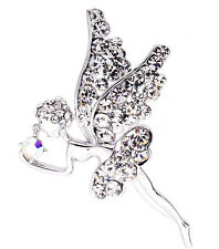 Silver Plated Wedding Bridal Crystal Rhinestone Angel Wing Fashion Pin Brooch