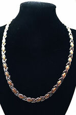 LADIES 18 INCH MAGNETIC THERAPY LINK NECKLACE: Silver & Gold Hugs 'N Kisses