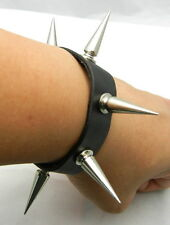 TEW125 Long 30mm Metal Spike Punk EMO Biker Gothic Leather Bracelet Wristband