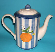 German Zeller Art Pottery Glazed Earthenware Oranges & Blue/White Stripes Teapot